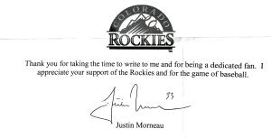 Justin Morneau Autograph Request