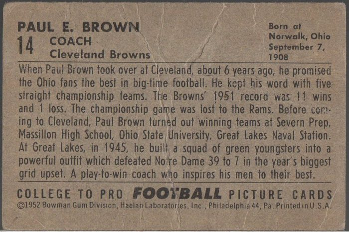 1952 Bowman Small #14 Paul Brown (B)