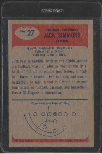 1955 Bowman #27 Jack Simmons (Back)
