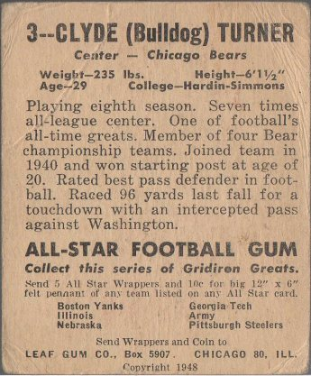 1948 Leaf #3 Bulldog Turner (back)