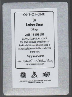 2015-16 Upper Deck Printing Plate Black #38 Andrew Shaw (back)