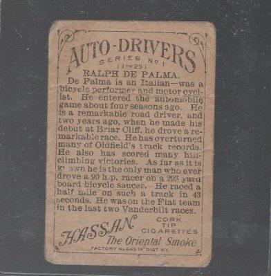 1911 American Tobacco Auto Drivers #6 Ralph DePalma Hassan/Factory 30 Back (back)