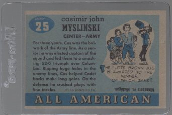 Casimir Myslinski SP 1955 Topps All American #25 (back)