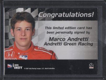 2007 Rittenhouse IRL Autographs #1 Marco Andretti (back)