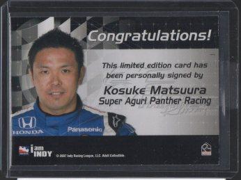 2007 Rittenhouse IRL Autographs #10 Kosuke Matsuura (back)