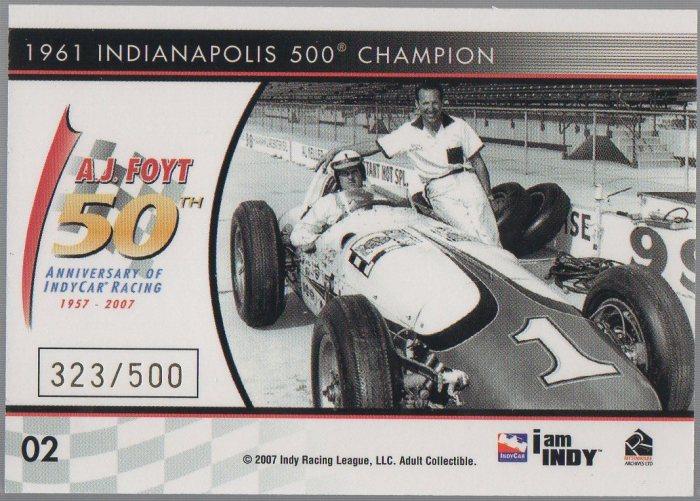A.J. Foyt 2007 Rittenhouse IndyCar A.J. Foyt 50th Anniversary #02 (back)