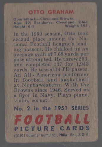 1951 Bowman #2 Otto Graham (back)