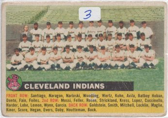 1956 Topps #85 Cleveland Indians