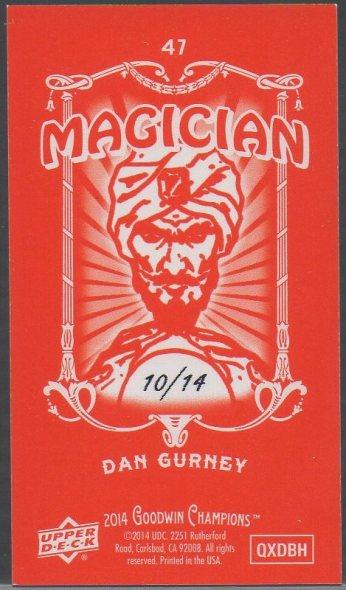 2014 Upper Deck Goodwin Champions - Mini Foil Magician Red #47 Dan Gurney SN14 (back)