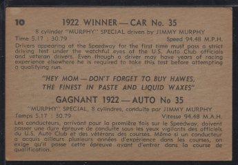 1960 Parkhurst Hawes Wax Indy #10 Jimmy Murphy (back)