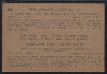 1960 Parkhurst Hawes Wax Indy #26 Floyd Roberts (back)
