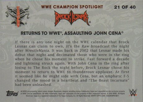 2016 Topps WWE Heritage - Brock Lesnar Tribute #21 Brock Lesnar (back)
