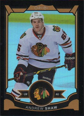 2015-16 O-Pee-Chee Rainbow Foil Black #34 Andrew Shaw #d27/100