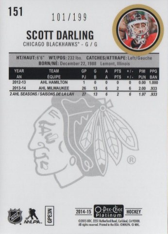2014-15 O-Pee-Chee Platinum White Ice #151 Scott Darling /199 (back)