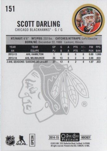 2014-15 O-Pee-Chee Platinum #151 Scott Darling (back)